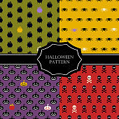 Halloween seamless pattern. Design elements for halloween party poster.