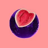 Minimal Contemporary collage art. Watermelon disco ball.