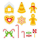 Set of gingerbread cookies. Christmas tree, house, heart, little people.