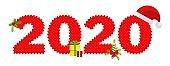 2020 Happy New Year logo text design.