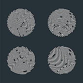 Flat vector fingerprint black round logo icon