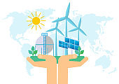Ecological concept. Friendly factories and industry. Solar energy, wind energy.