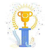 Gold Cup winner on an antique pedestal. Award to the best