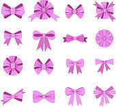 Elegant lilac bows from a wide ribbon. Decor for greeting cards