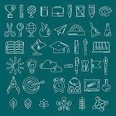 Set of school supplies sketch handdrawn lines icons.