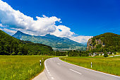 Road among Alps mountains, Vaduz, Oberland, Liechtenstein.