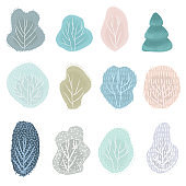 Big set of Christmas trees design doodle elements. Vector hand drawn illustration. Isolated objects.
