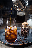 Ice coffee in a tall glasses