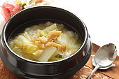 Korean food, Chinese cabbage and Dried cod fish soup