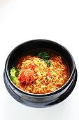 Korean food, kimchi and ramen noodles