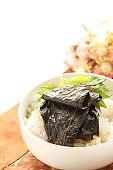 Korean food, Perilla seeds leaves marinated on rice