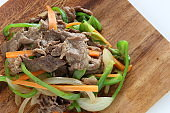Chinese food, beef and green pepper stir fried