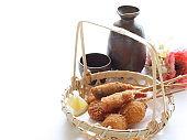 Japanese food, Kushiage skewer deep fried cuisine