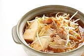Korean food, kimchi and pork with tofu hot pot