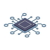 Didgital technology. Computer or server processor concept. Large computational power. Isometric vector illustration isolated on white background.