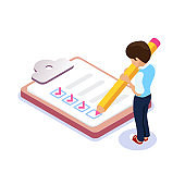 Isometric flat filling out checklist. Character with a pencil in his hands puts a tick in the list. Student or employee leaves notes.