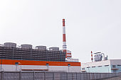 New modern pulp mill for the manufacture of paper and cardboard, industry, outdoor, copy space