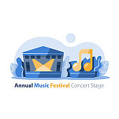 Music festival, outdoor concert stage with gabled roof, entertainment performance, festive event arrangement