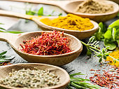 Assortment of colorful spices.