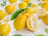 Ripe lemon fruits.