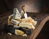 Assortment of different cheese types.