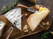Cheese platter with Parmesan and blue cheese.