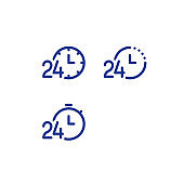 Time clock line icon set, fast delivery, quick service, work 24 hours