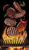Steak cooking.