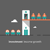 Fund raising concept, return on investment, income growth, revenue increase, financial productivity, evaluation, mutual fund