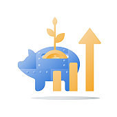 Metal piggy bank, long term investment strategy, arrow of growth, more money, revenue boost, financial performance
