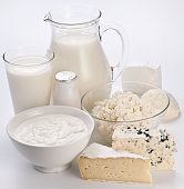 Different milk products: cheese, cream, milk, yoghurt.