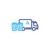 Garbage truck line icon, trash disposal services, waste bins
