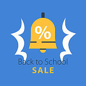 Back to school season sale, ringing bell with percentage sign
