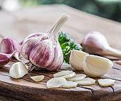 Garlic bulb and garlic cloves.