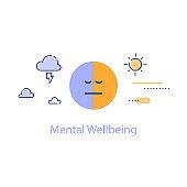Mental health, bipolar disorder concept, negative or positive thinking