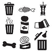 Litter, trash, garbage vector icon set, trash can, fish bone, eaten apple, bones, crashed can