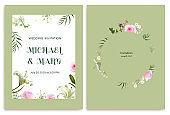 Wedding invitation. Flowers. Palm leaves. Lilies. Petals. Orchids. Floral background. Roses.