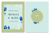 Wedding invitation. Flowers. Floral background. Orchids. Green leaves. Blue.