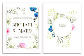 Flowers. Floral background. Wedding invitation. Orchids. Callas. Roses. White. Green leaves. Pattern.