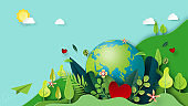 Paper art of green nature and earth day concept background template.