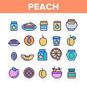 Peach Fruit Color Elements Icons Set Vector