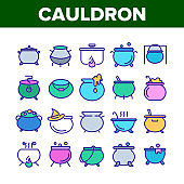 Cauldron Collection Elements Icons Set Vector
