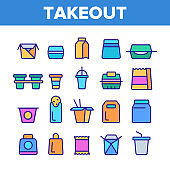 Takeout Food Vector Color Line Icons Set