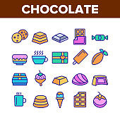 Chocolate Collection Elements Icons Set Vector