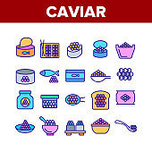 Caviar Tasty Seafood Collection Icons Set Vector