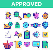 Color Approved And Certified Vector Linear Icons Set