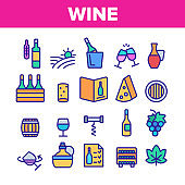Wine Product Color Elements Vector Icons Set