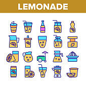 Lemonade Tasty Drink Collection Icons Set Vector