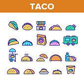 Taco Burrito Color Elements Icons Set Vector