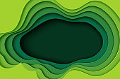 Green paper cut abstract background vector illustration.